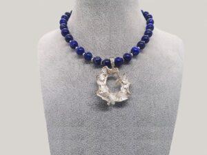 colier lapis lazuli si argint